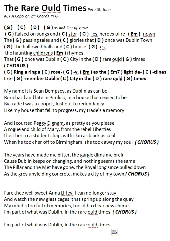 Dublin In The Rare Old Times Hooleys Song List