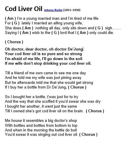 Lyrics containing the term: cod liver oil