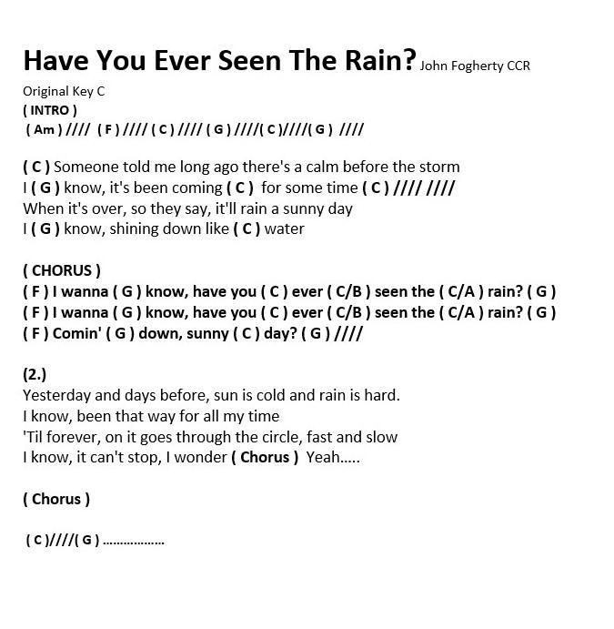 Have You Ever Seen The Rain | Hooleys Song List